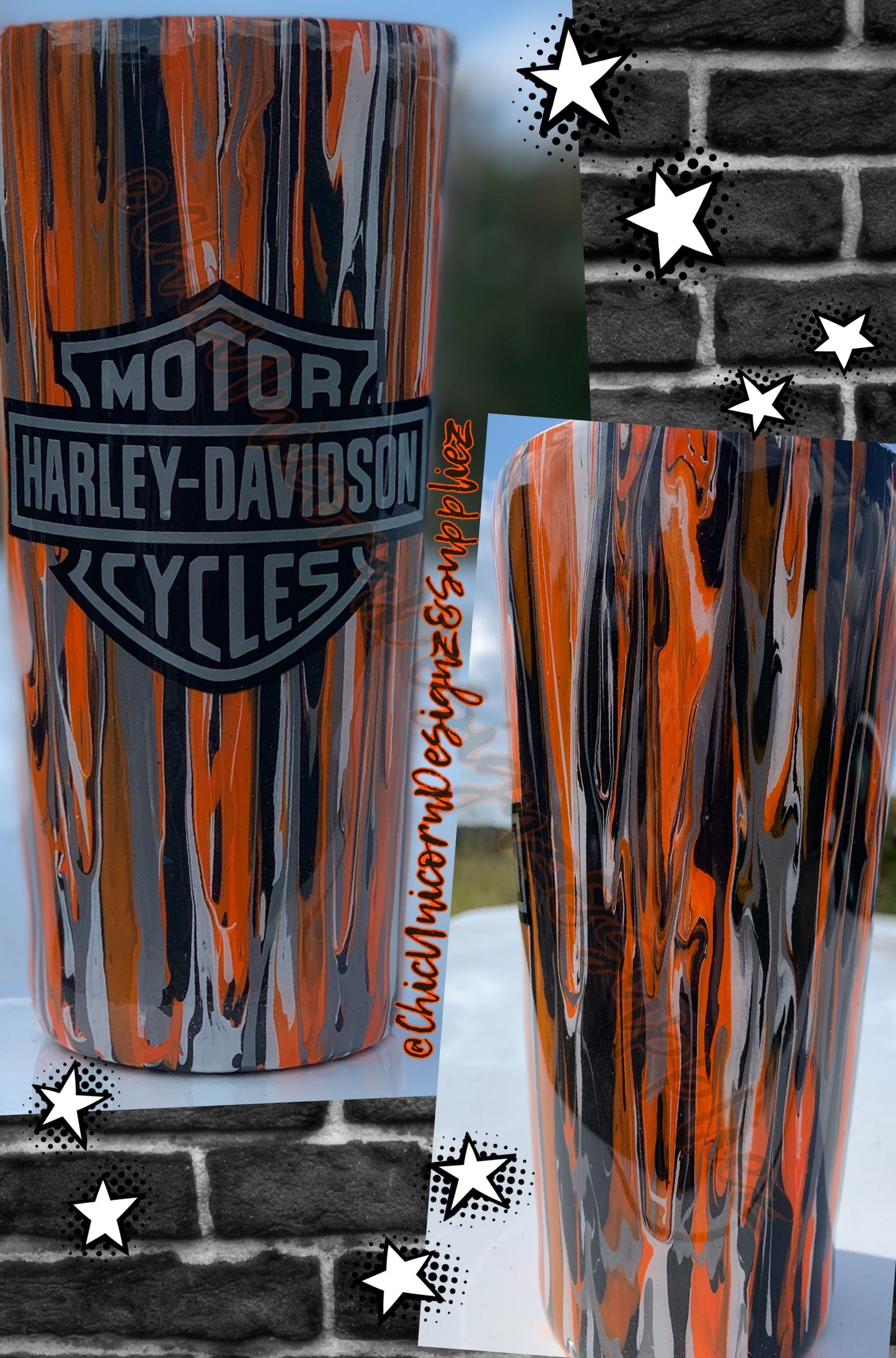 Harley Davidson Acrylic Paint Drip Tumbler 32oz Custom Tumbler Cups Vinyl Tumblers Tumbler Designs