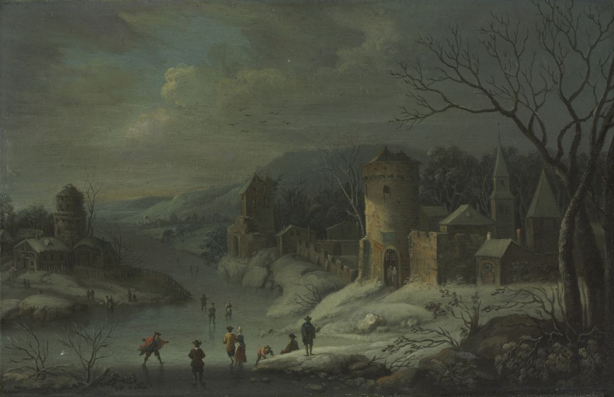 Winter Landscape . 1680-1718 Attributed Jan Griffier Dutch 1648-1718 Oil Copper
