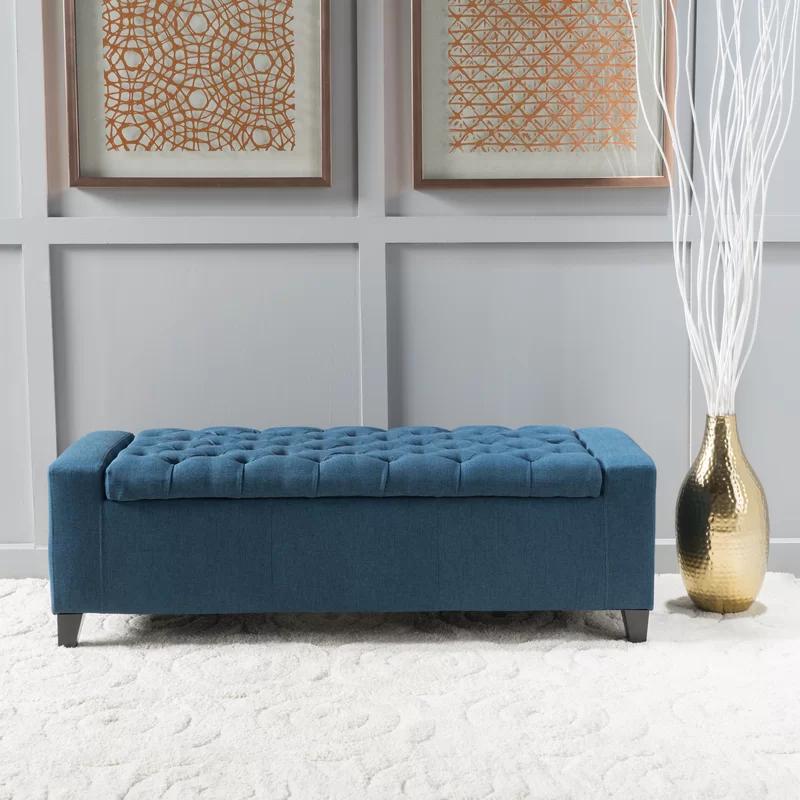 Ilchester Upholstered Storage Bench Reviews Allmodern Fabric Storage Ottoman Blue Storage Ottoman Upholstered Storage