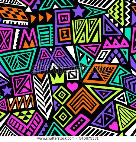 Multicolor Vector Seamless Pattern With Abstract Shapes