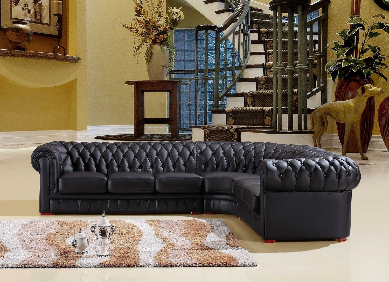Sofaland Spain Chesterfield Black Leather Corner Sofa Right Hand Corner Sofa