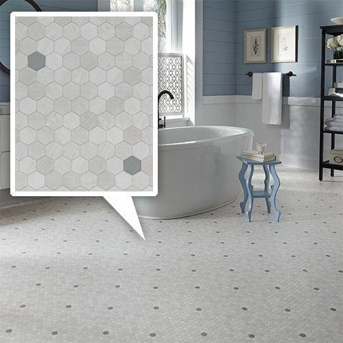 Mannington Luxury Vinyl Flooring In Penny Lane Mini Hexagon Tiles For A Modern Vinyl Flooring Bathroom Luxury Vinyl Flooring Bathroom Luxury Vinyl Flooring