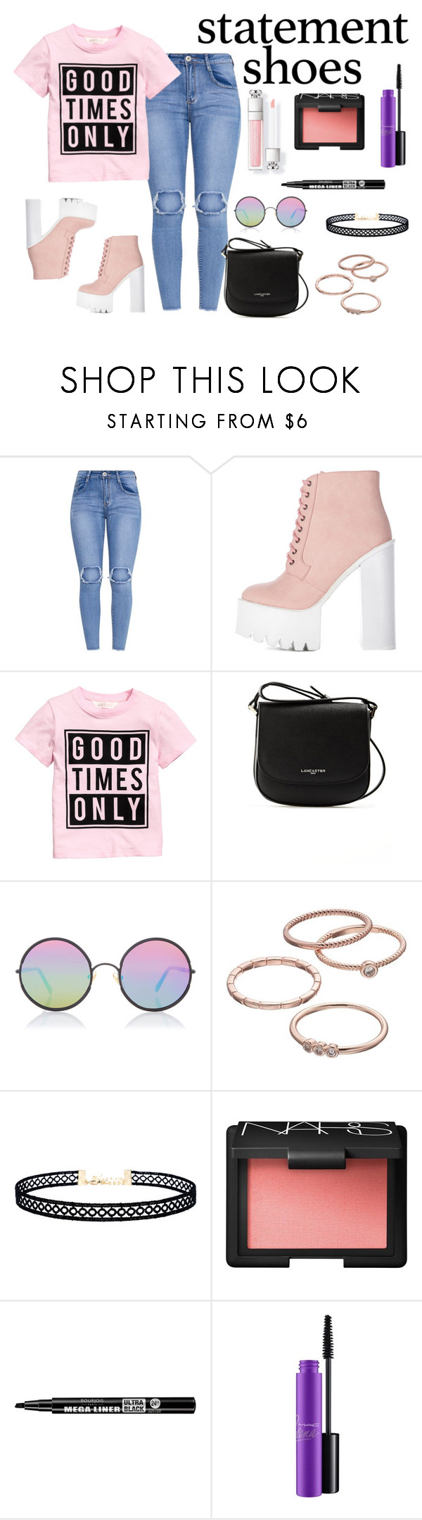 """Double Statement Shoes"" by shosho-mahmmod ❤ liked on Polyvore featuring Lancaster, Sunday Somewhere, LC Lauren Conrad, LULUS, NARS Cosmetics, Bourjois, MAC Cosmetics, shoes, trend and statement"