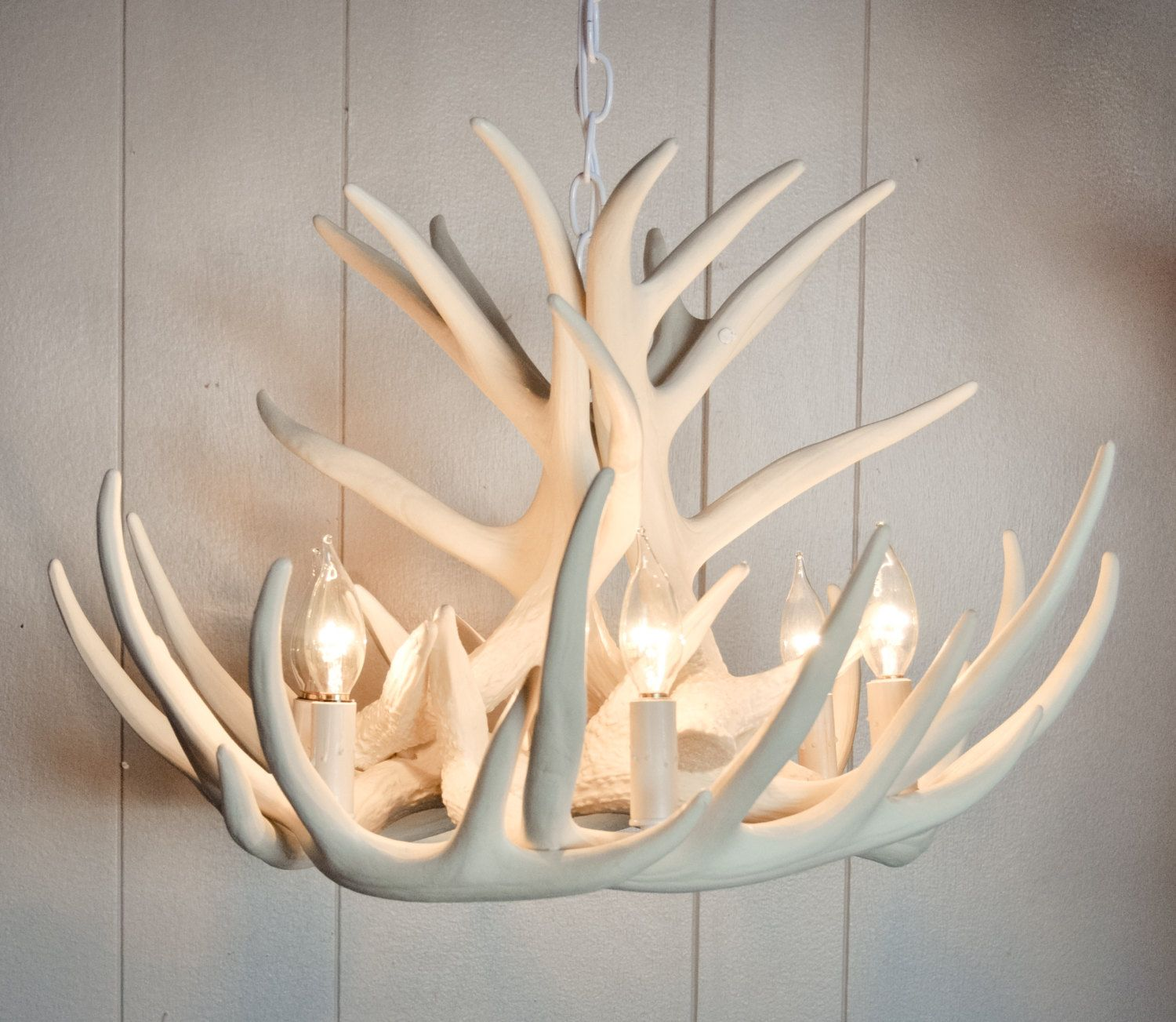Artwork Of White Antler Chandelier Displaying Unique And Rustic