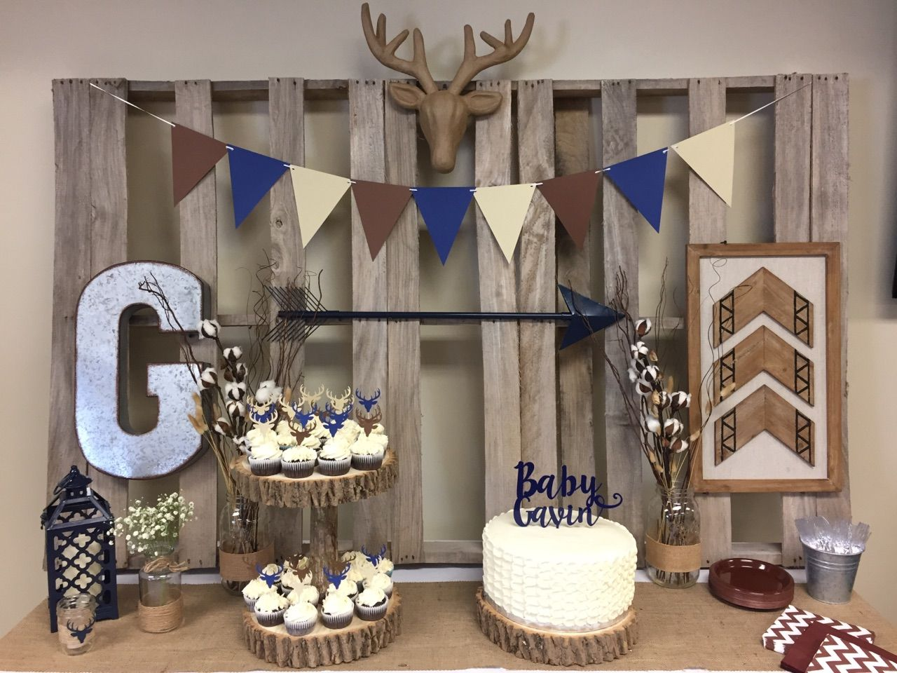 Rustic Deer Baby Shower Decor Baby 2 Boy Baby Shower Themes Deer Baby Showers Hunting Baby Showers