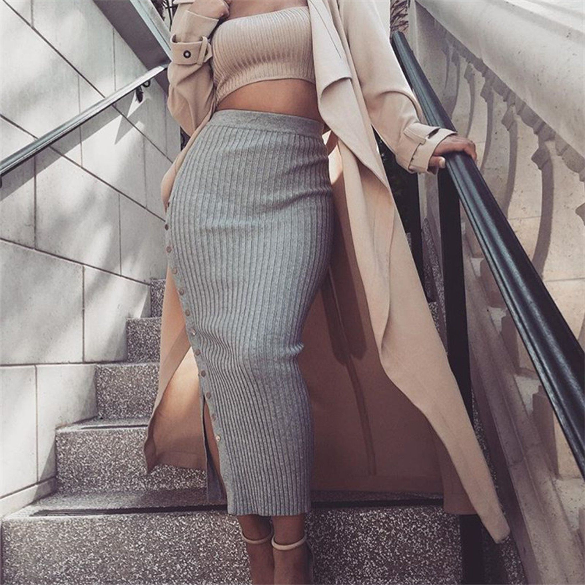 744fbef1f8 Classy Baddie Outfit Ideas for Going Out - Elegant Party Club Summer  Fashion - Knit Ribbed Button Up Side Long Tight Fitted Maxi Skirt - ideas  elegantes del ...