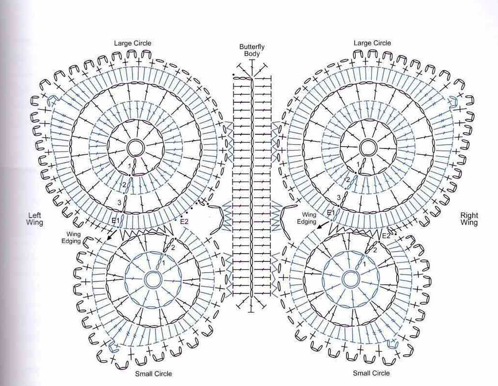 Esquema mariposa crochet en hilo, lana o trapillo | Crochet ...
