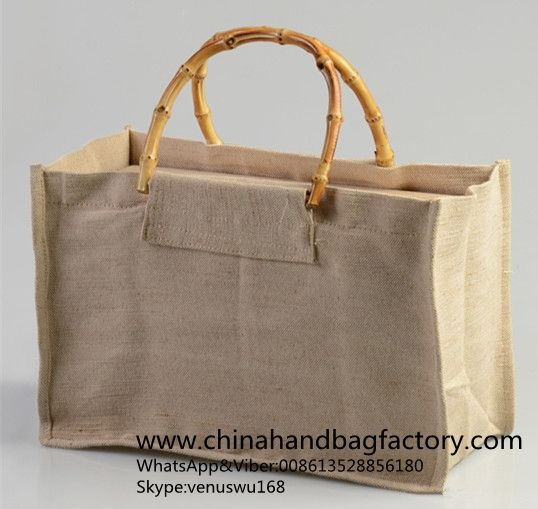 China jute handbag manufacturer directly linen bags bamboo handle wine storage case supplier OEM customized flax & China jute handbag manufacturer directly linen bags bamboo handle ...