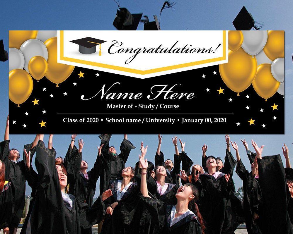 1 Set Photo Banner School 2020 Graduation Creative Banner for Decor