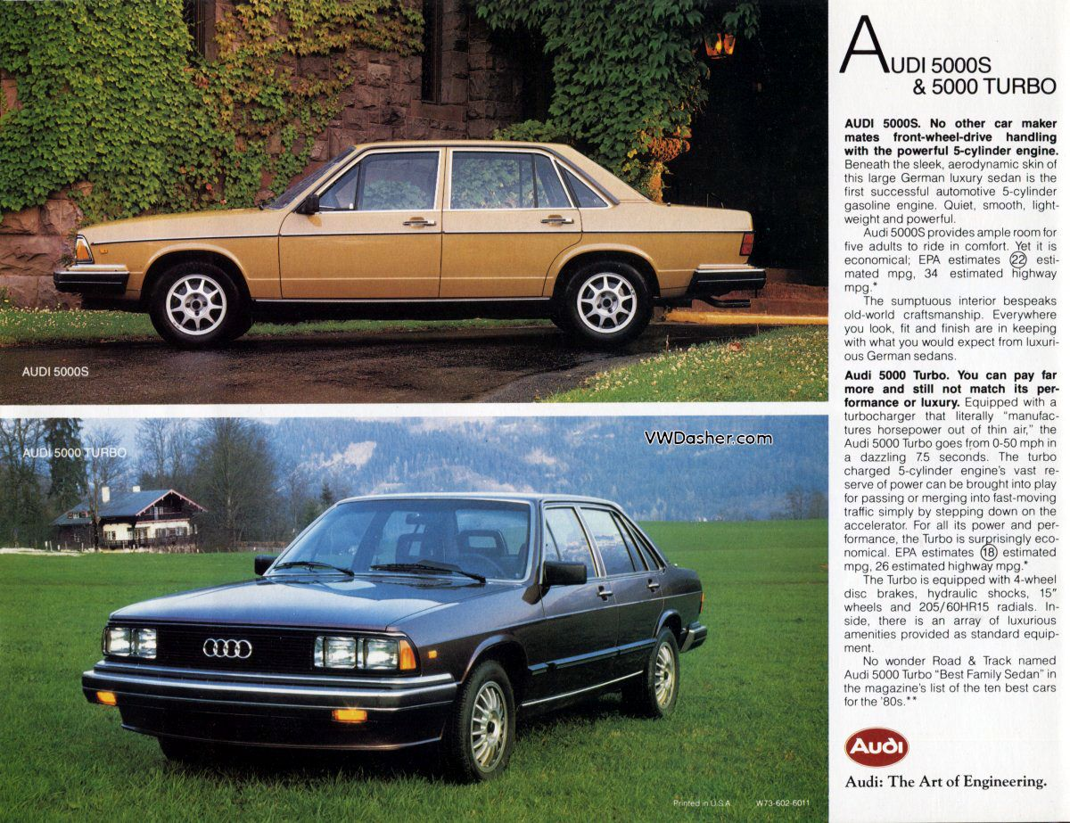 1982 Audi 5000S & 5000 Turbo Ad | Audi, Car ads, Dream cars