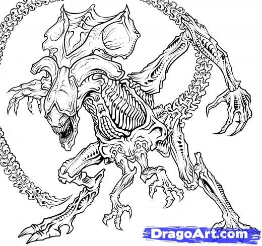 Alien vs Predator Coloring Pages | Alien Queen Drawing How-to-draw-a ...