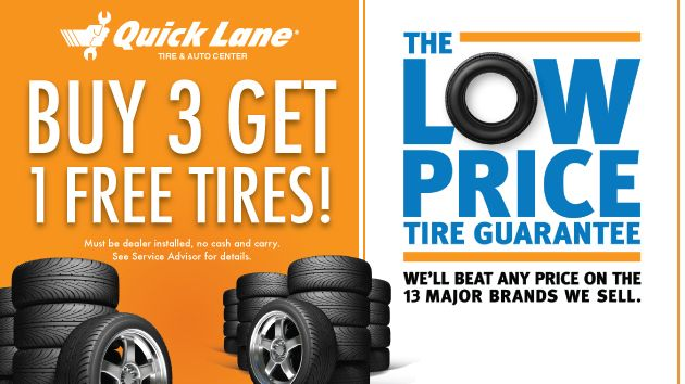 Buy 3 Get 1 Free Tires The Low Price Tire Guarantee The Quick Lane At Sioux Falls Ford Lincoln Sioux Falls Free Tire Service Maintenance