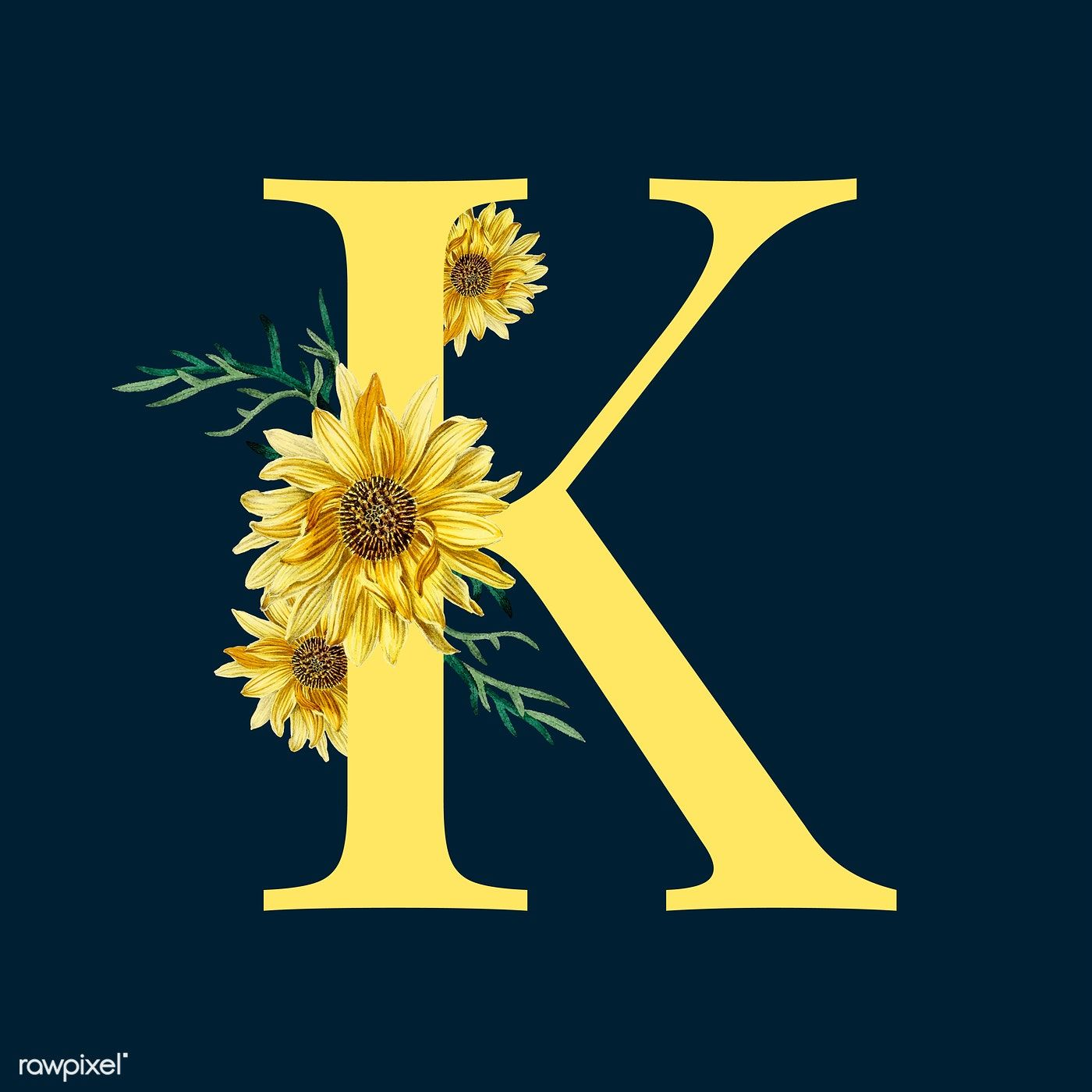 Yellow alphabet K C decorated with hand ...