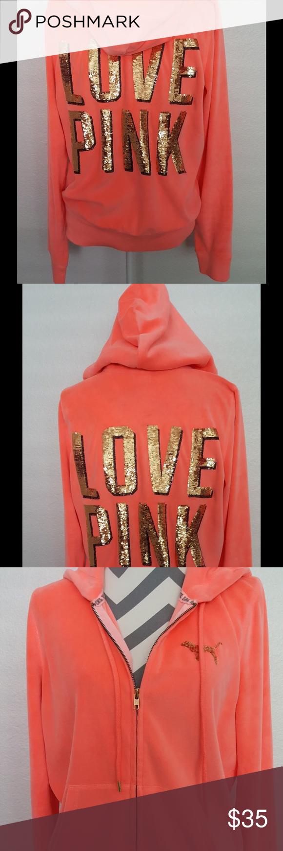 5bc0b75c5c9 Hoodie by PINK Victoria s Secret Zip up Jacket Soft velour neon coral zip  up hoodie