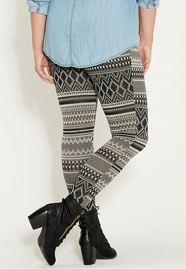 plus size knit legging in black and gray ethnic pattern - maurices.com