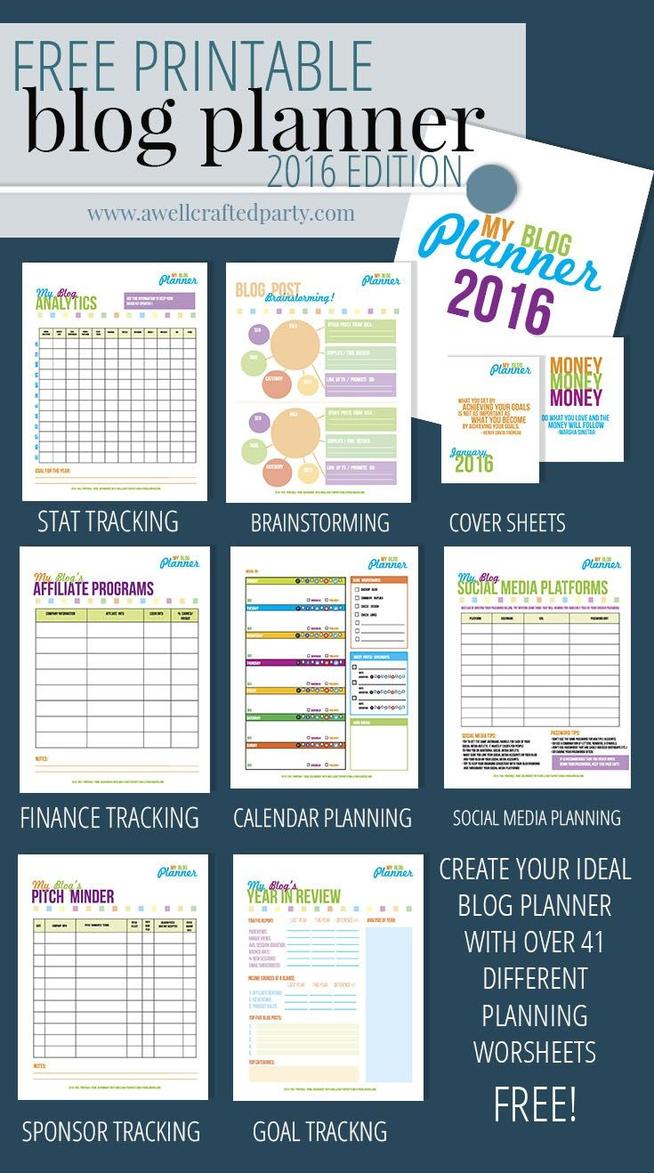 Build your ideal blog planner with the Free Printable Blog Planner from A Well Crafted Party