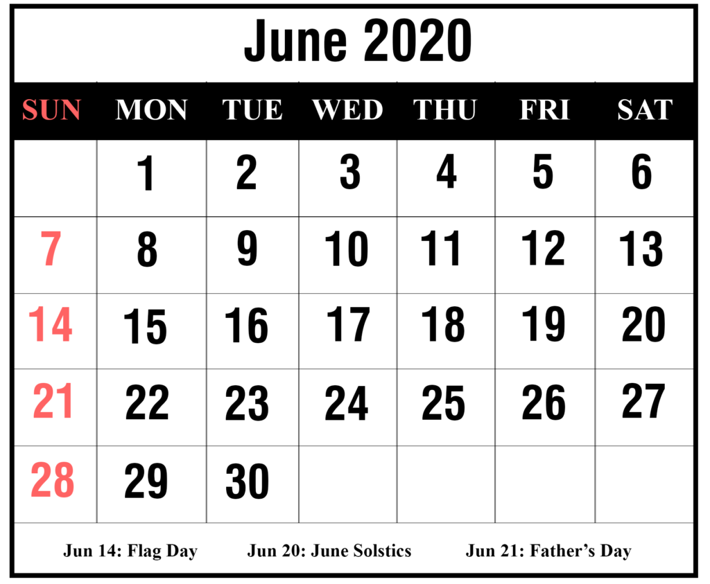 June 2020 Calendar PDF, Excel, Word Printable Templates ...