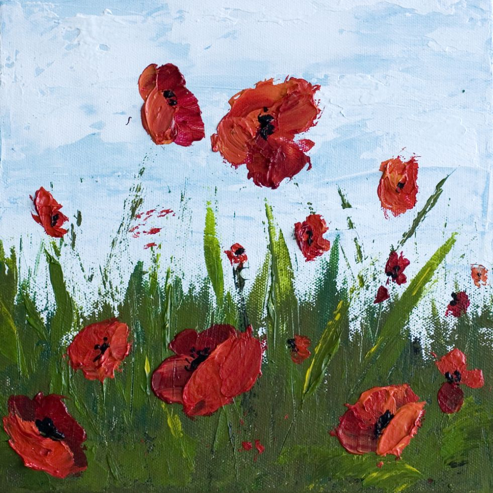 How To Paint Poppy Flowers with Acrylic Paint and a Palette Knife, Simple Step-By-Step Tutorial.