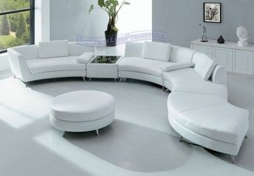 Round White Leather Sectionals Modern Furniture White Leather
