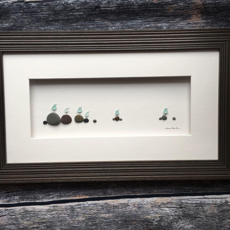 Original pebble art, 8 by 15 Framed seaside rocks with sea glass ...