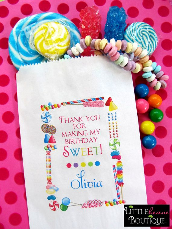 Personalized Candy Bags Sprinkle Favor Buffet Birthday Party Sweets Treats Set Of 24