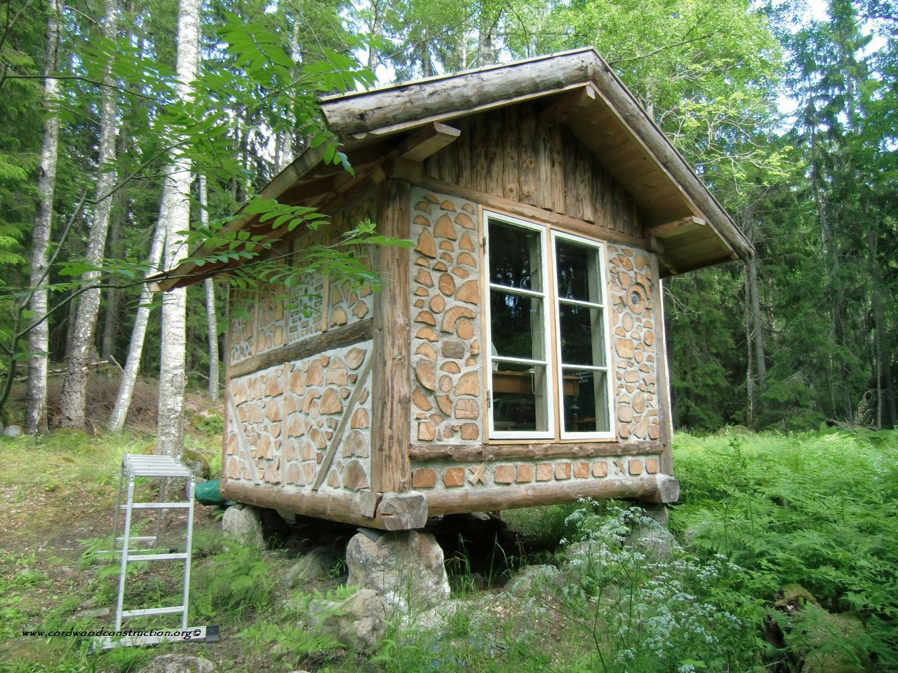 Small stone cabin plans cordwood log cabin from for Stone log cabin