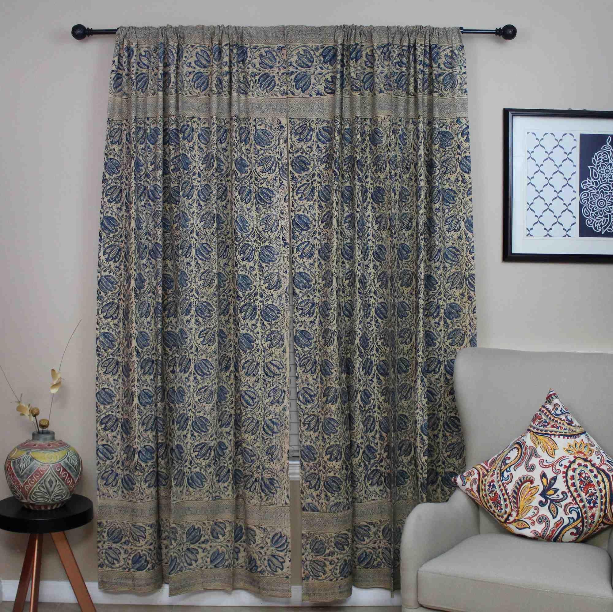 Handmade Cotton Block Print Veggie Dye Curtain Panel