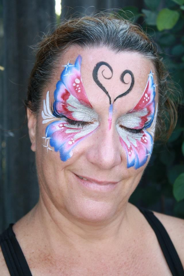 4th of july face paint butterfly by cynnamon bay area party ent