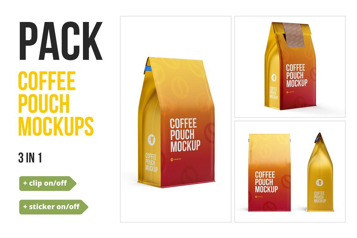 Download Coffee Pouch Mockup 3 In 1 Pack Mockup Coffee Branding Design Bottle Packaging