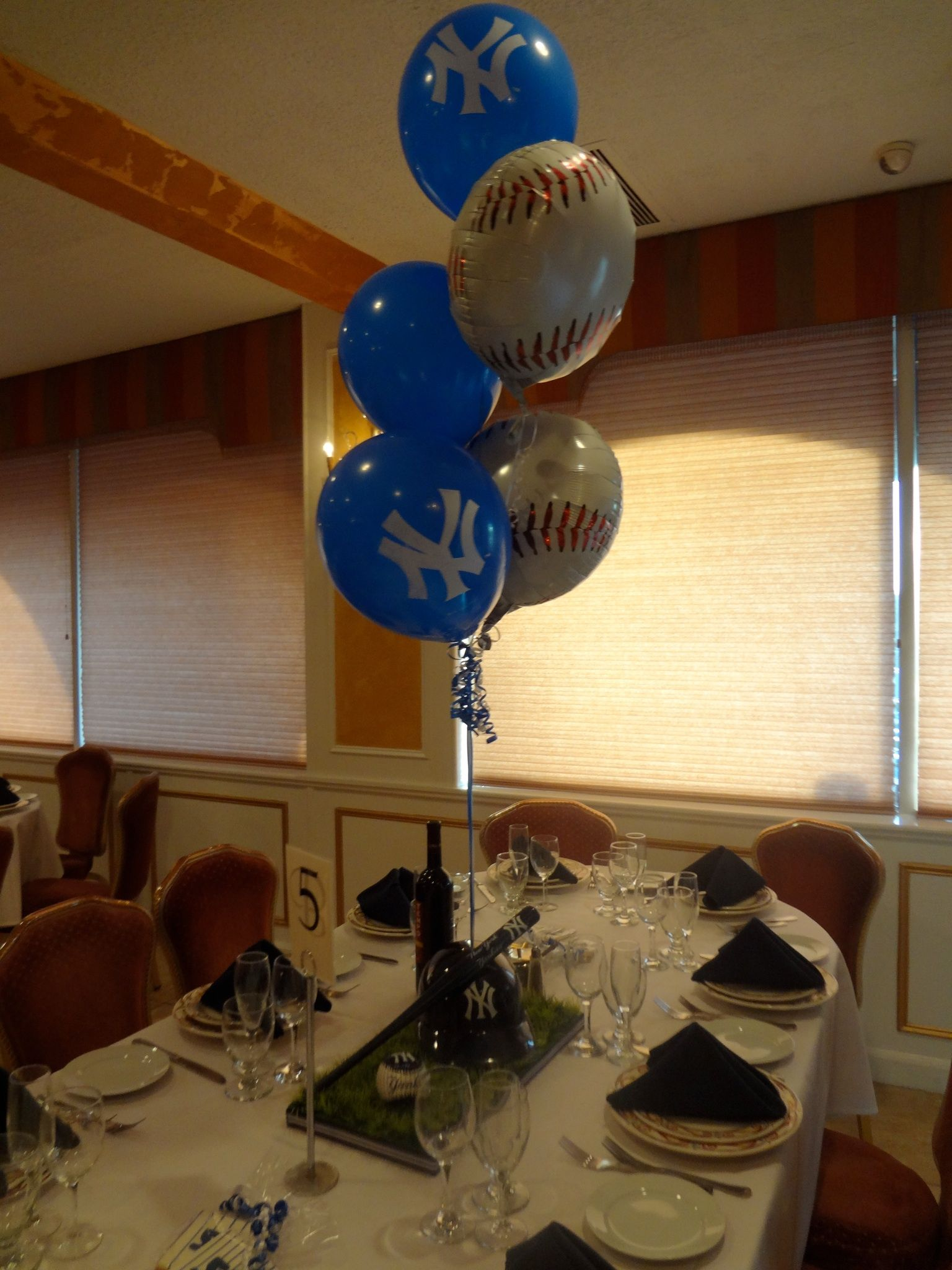 Yankees Theme 50th Birthday - Men's - Centerpieces with Balloons. www.experiencecreativitee.com ...
