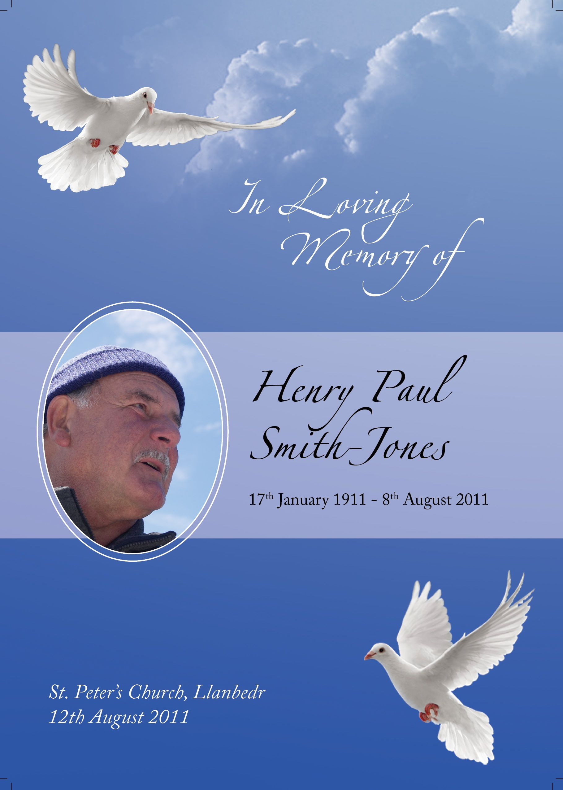 Dove inspired funeral order of service design from http funeralstationery4ucouk order of for Funeral background templates