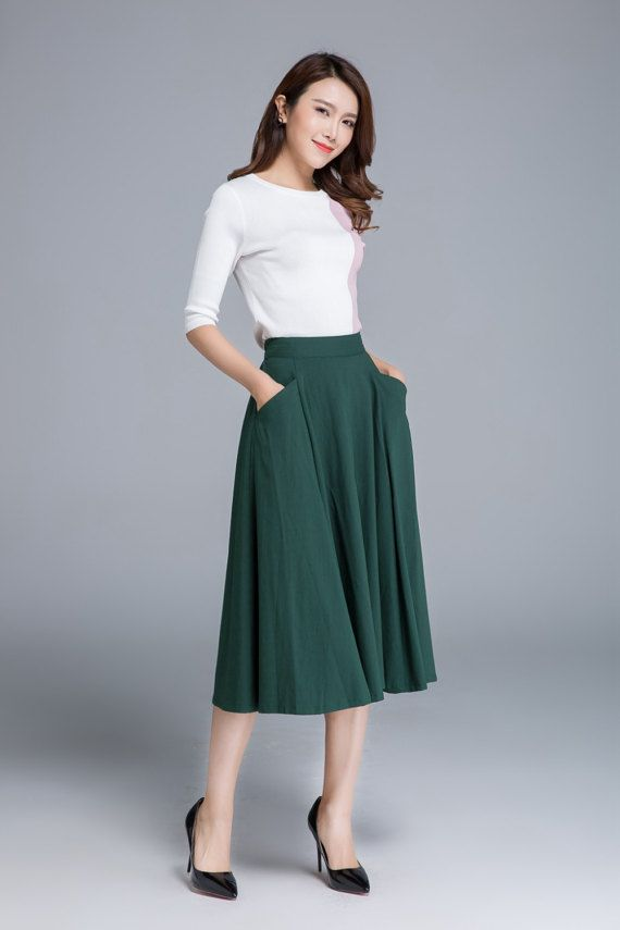 Eco friendly linen Linen A-line skirt Knee length skirt