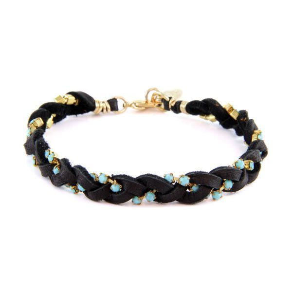 Black Leather Braided Bracelet with Turquoise Stones