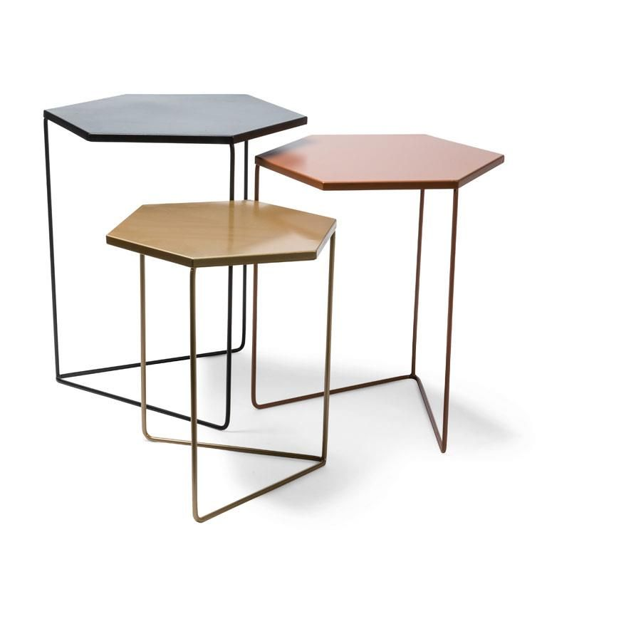 Nested Metal Geometric Tables Black Copper Gold Set Of