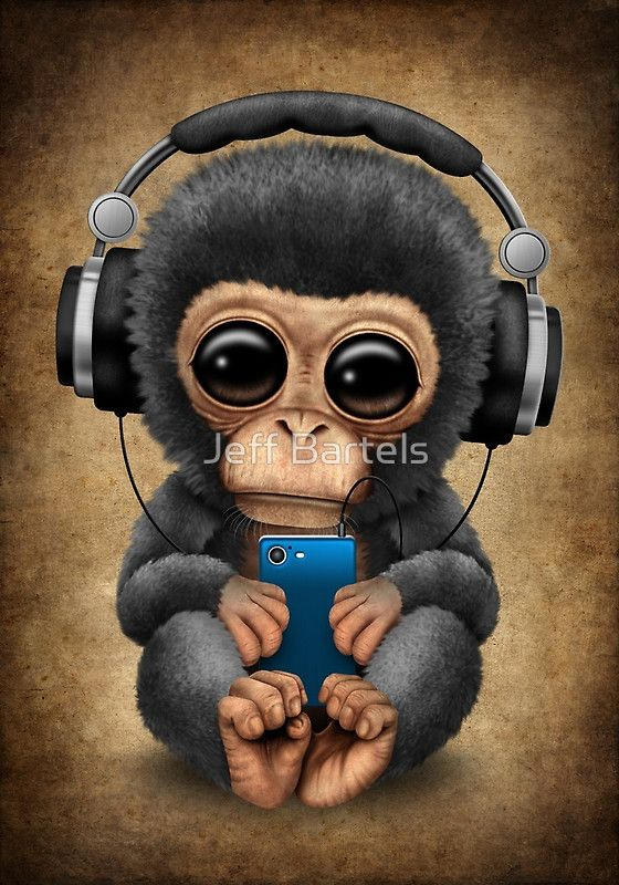Chimpanzee Dj With Headphones And Cell Phone By Jeff Bartels Cute Animal Drawings Cute Drawings Cute Baby Monkey Cute baby monkey cartoon wallpaper