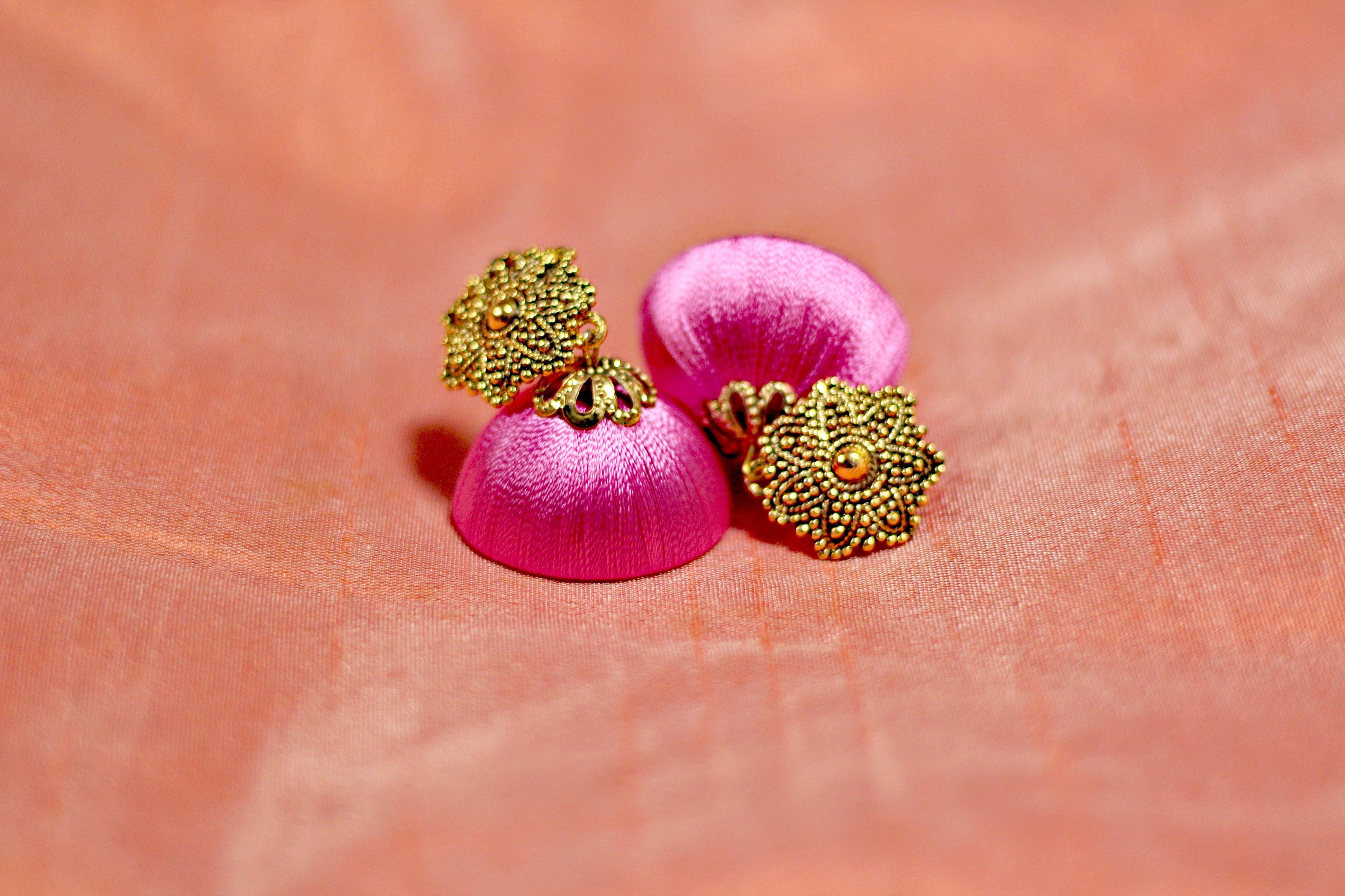 Shop Bandung Pink Threaded Jhumka with bronze flower studs