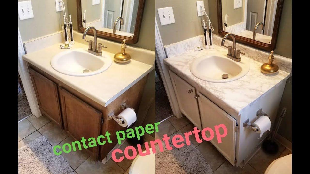 Diy marble contact paper over formica bathroom countertop