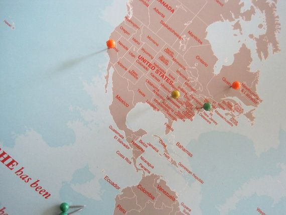 pin worldmap mounted on foam board his and hers personal