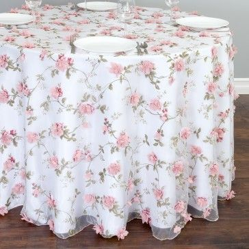 Beau Shop For Sheer Tablecloths With Roses At LinenTablecloth. Three Dimensional  Flowers Are The Magic Behind Our Alluring 108 In. Round Sheer With Pink  Roses ...