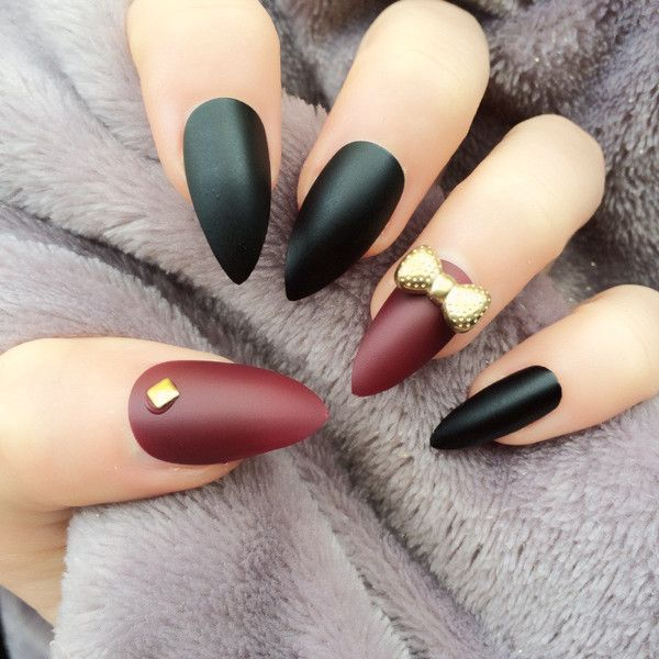 Doobys Stiletto Nails Matte Black Accent Deep Red Matte 24 Hand ...