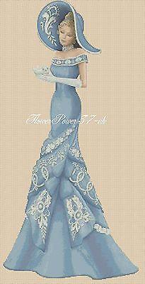 Cross stitch chart  Elegant Lady 156e full length     Flowerpower37-uk