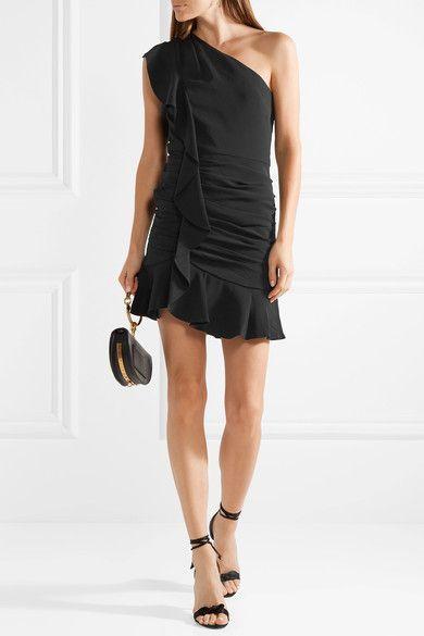 Kingston One-shoulder Ruffled Cady Mini Dress - Black Veronica Beard Cheap Big Discount 5zFnI3Hpx