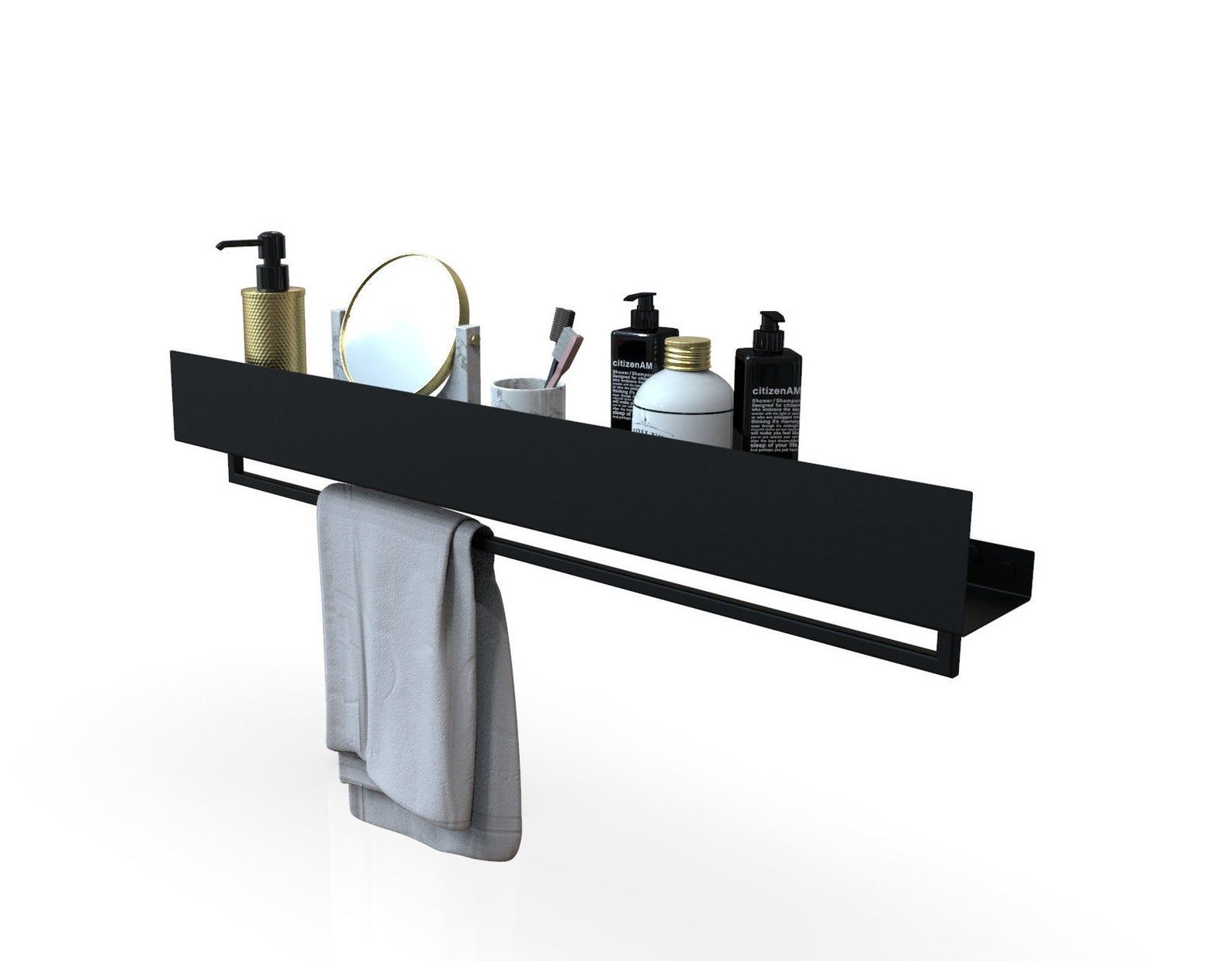 Black Bathroom Shelf Vasca Etsy In 2020 Black Bathroom Bathroom Shelves Shower Shelves