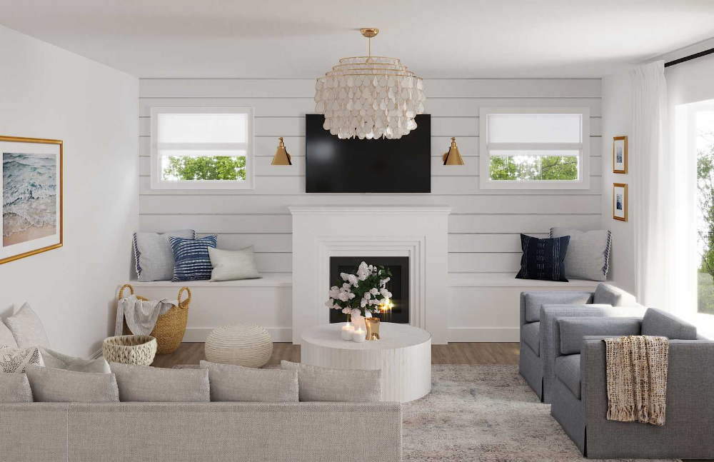 Modern, Bohemian, Coastal, Farmhouse Living Room Design by Havenly Interior Designer Shelby #havenlylivingroom Modern, Bohemian, Coastal, Farmhouse Living Room Design by Havenly Interior Designer Shelby #havenlylivingroom