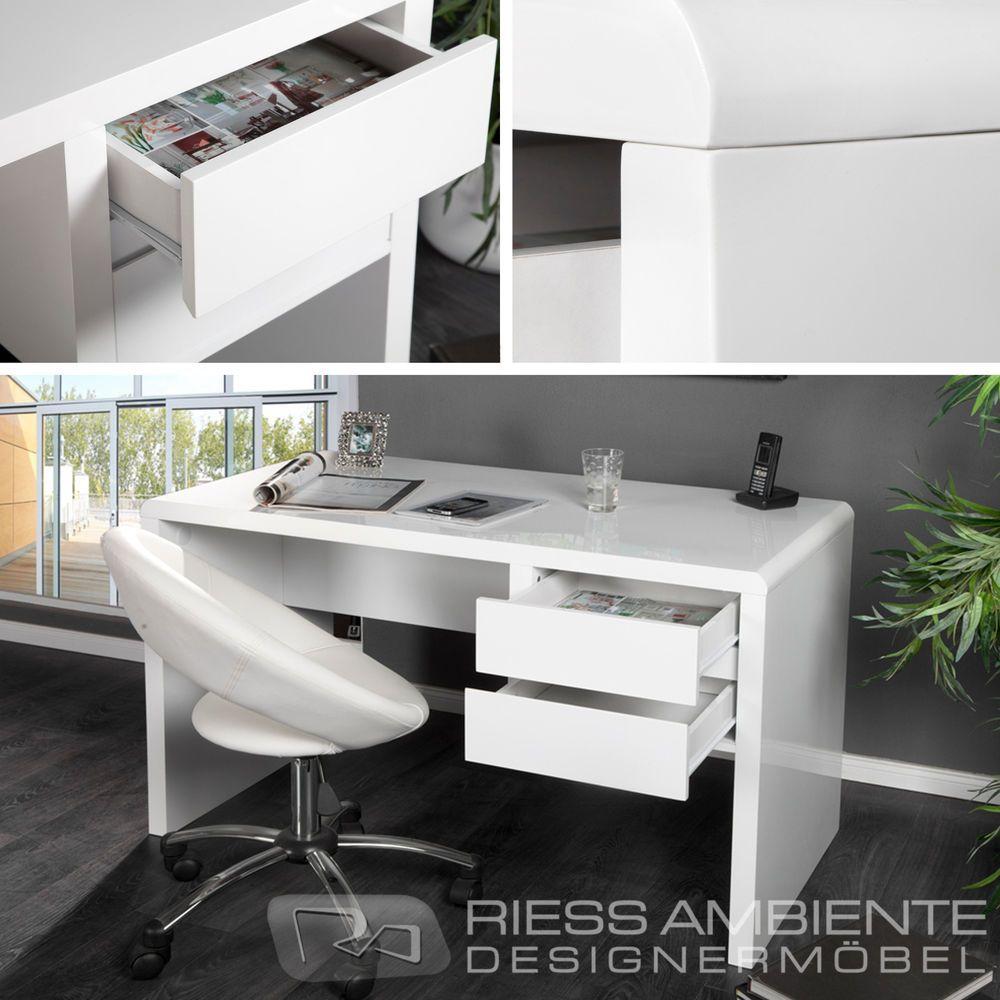 Design schreibtisch blizzard hochglanz weiss 120cm b rotisch schubladen tisch badezimmer - Badezimmer tisch ...