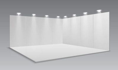 Blank display exhibition stand White empty panels promotional advertising stand Presentation event room 3d template Vector exhibition and framework area floor with light...