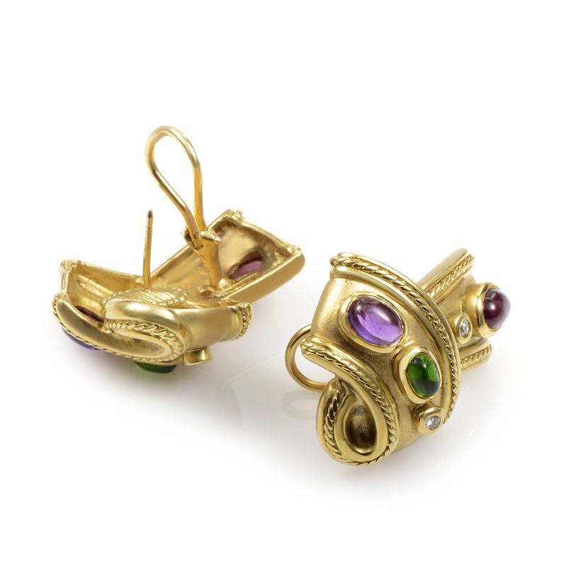 SeidenGang Yellow Gold Gemstone Earrings | From a unique collection of vintage…