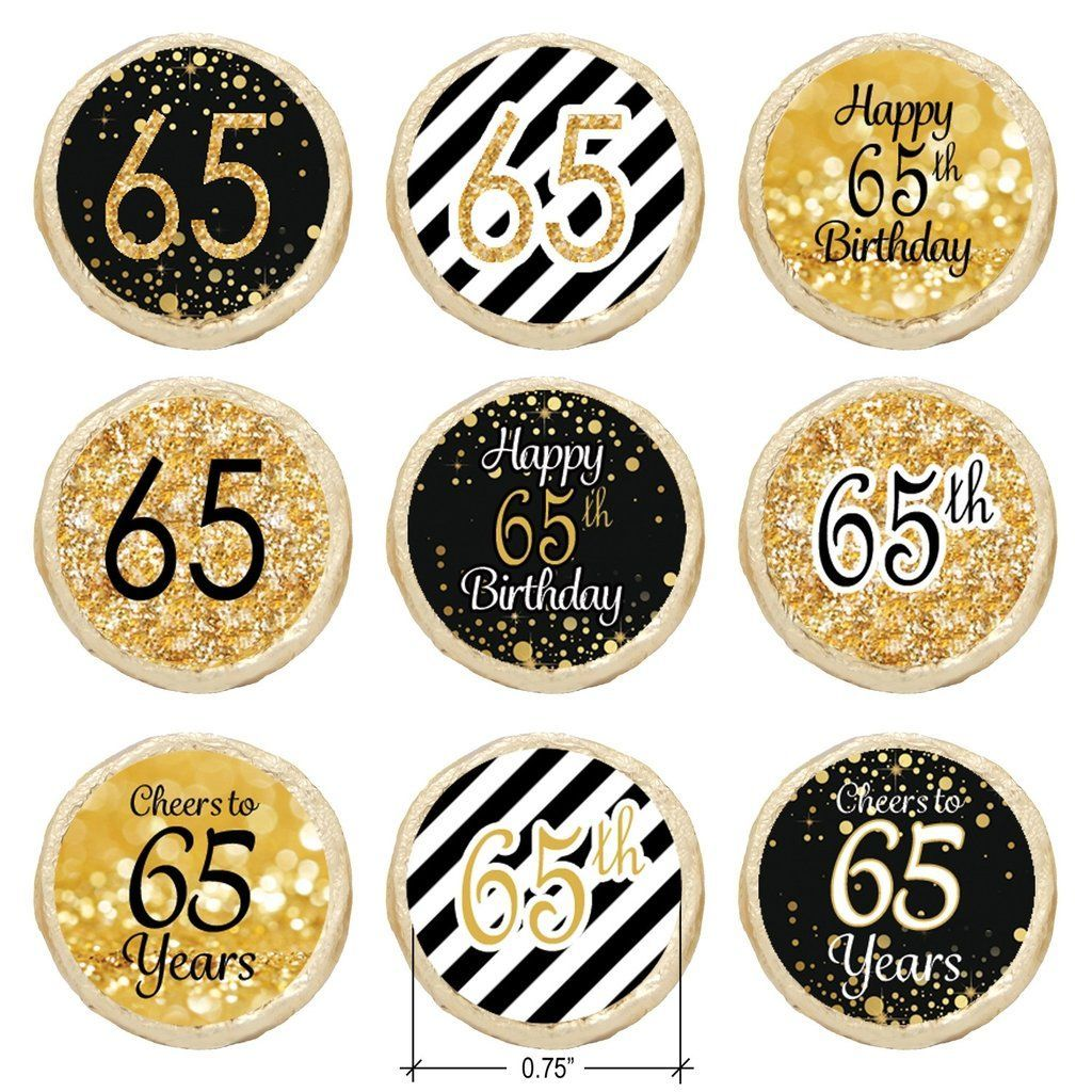 Black and gold 65th birthday party favor stickers set of for 65th birthday party decoration ideas