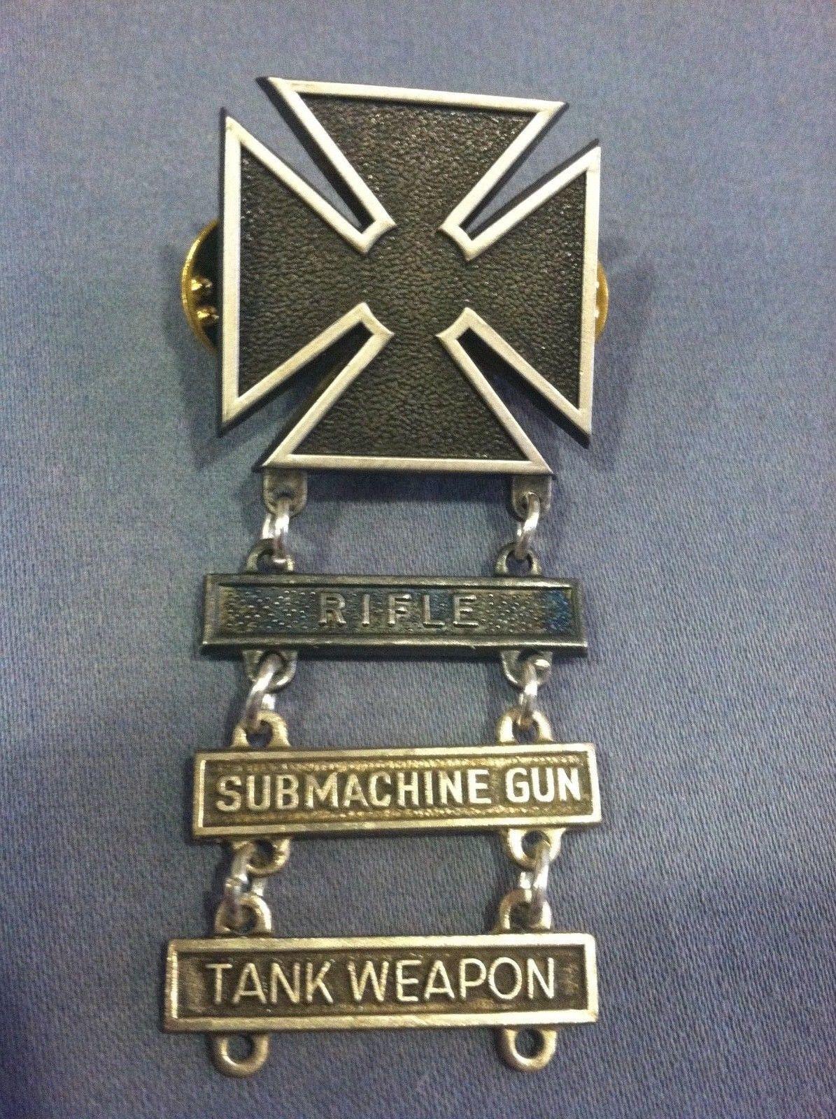 45e7080726b1 WWII Marksman Badge Pin Rifle Submachine Gun Tank Weapon Army Medal  Military Set | eBay