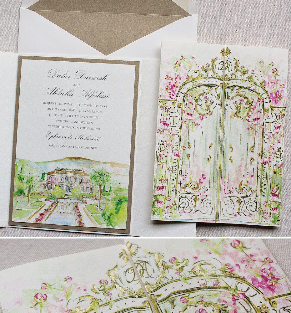 Dahlia D. - Wrought Iron Gate Wedding Invitation | Weddings and ...